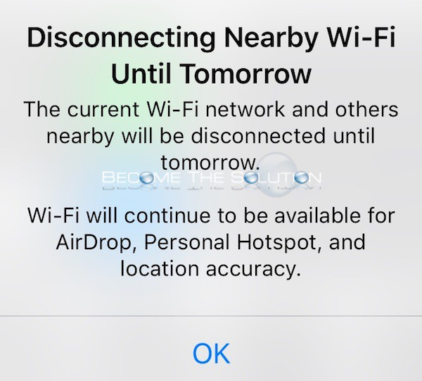 Why: Disconnecting Nearby Wi-Fi Until Tomorrow – iPhone Control Center