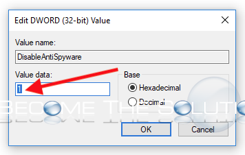 Regedit dword value 1 disableantispyware