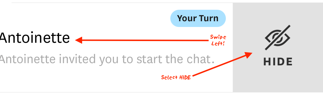 Hinge hide your turn notifications