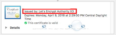 Ssl issued by lets encrypt authority x3