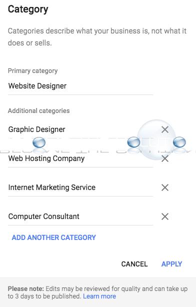Google business listing edit categories