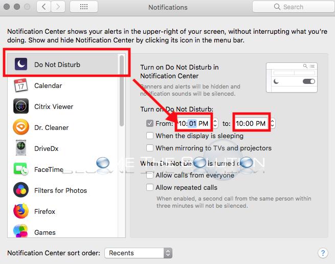 Mac notification center do not disturb 24 hours
