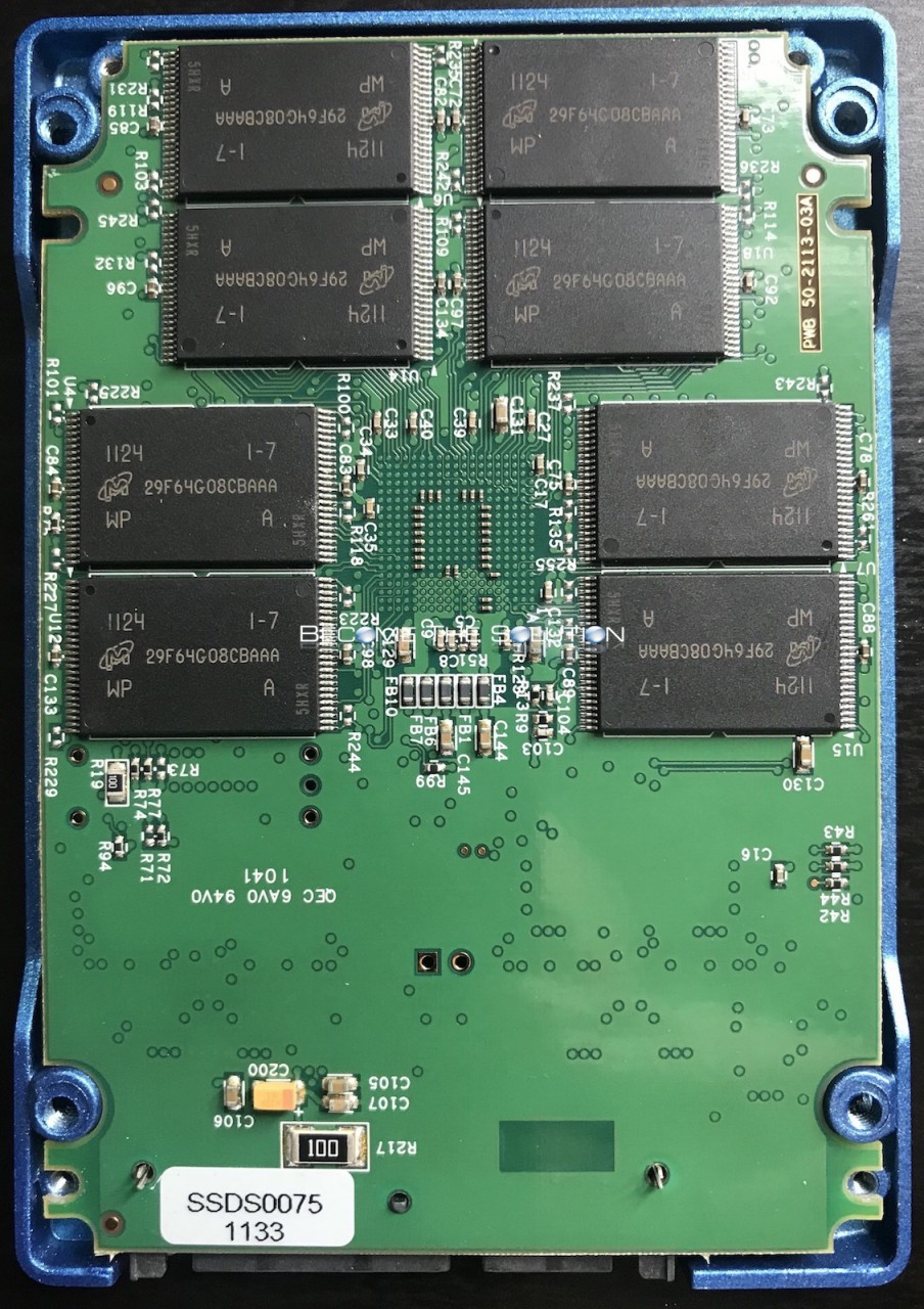 Opened ssd drive motherboard