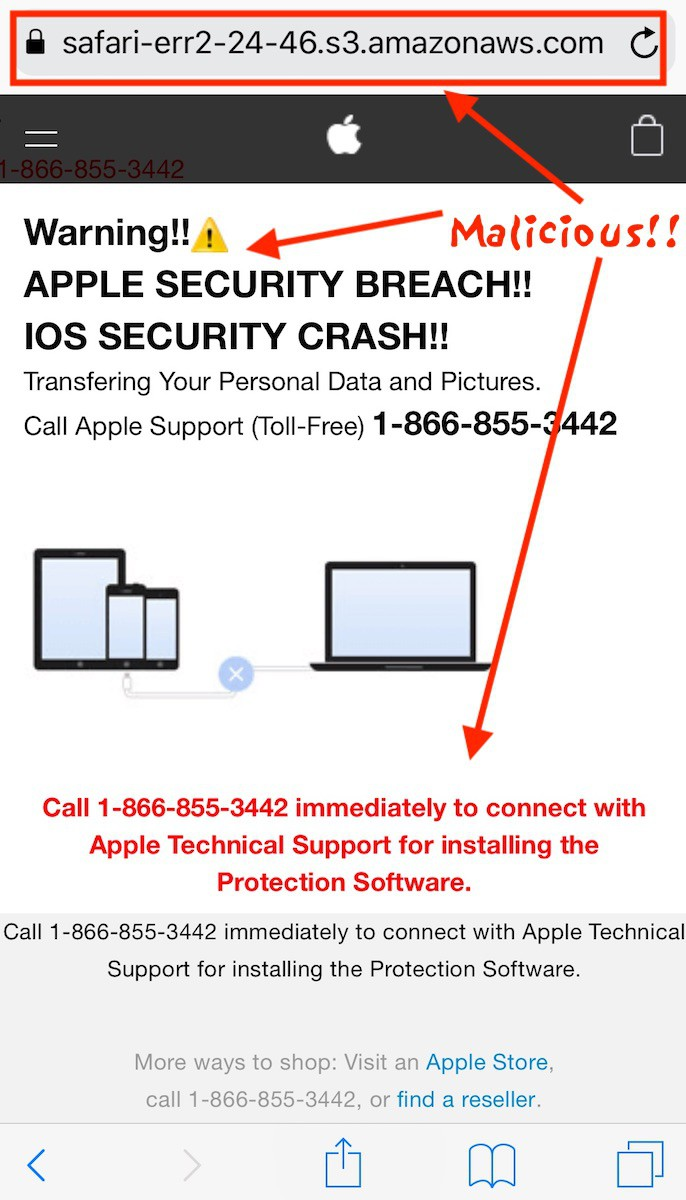 Fix: Warning Virus Alert Call Apple – iPhone