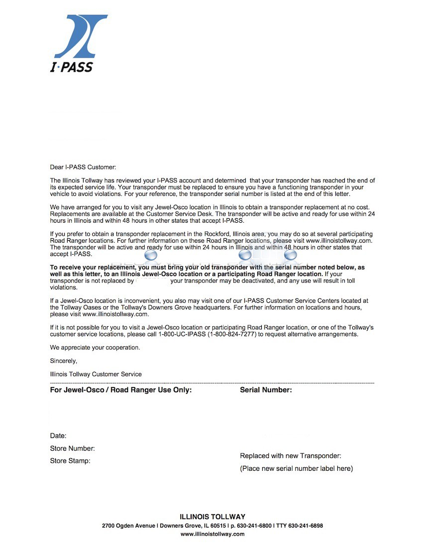 iPass Renewal Letter Example (For Renewing Expired iPass Transponder)