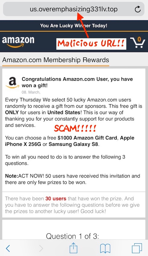 You Have Won A Gift From Amazon Op Samsung