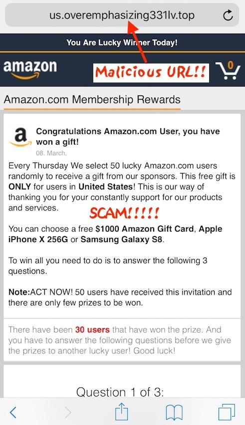 Stop: Congratulations Amazon User iPhone Pop-Up (Scam)