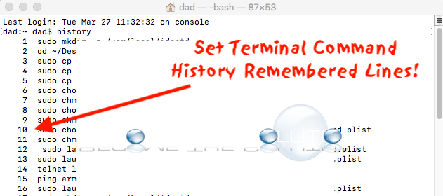 Easy: Set Mac Terminal Command History (Set How Many Lines Remembered)