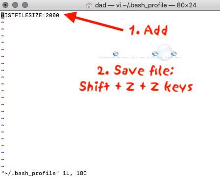 Mac terminal histfilsize value