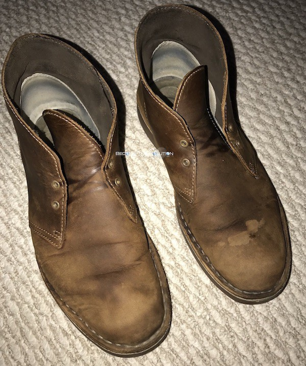 Clarks boots warn down scuffs