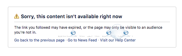 Why: Sorry, this content isn't available right now – Facebook