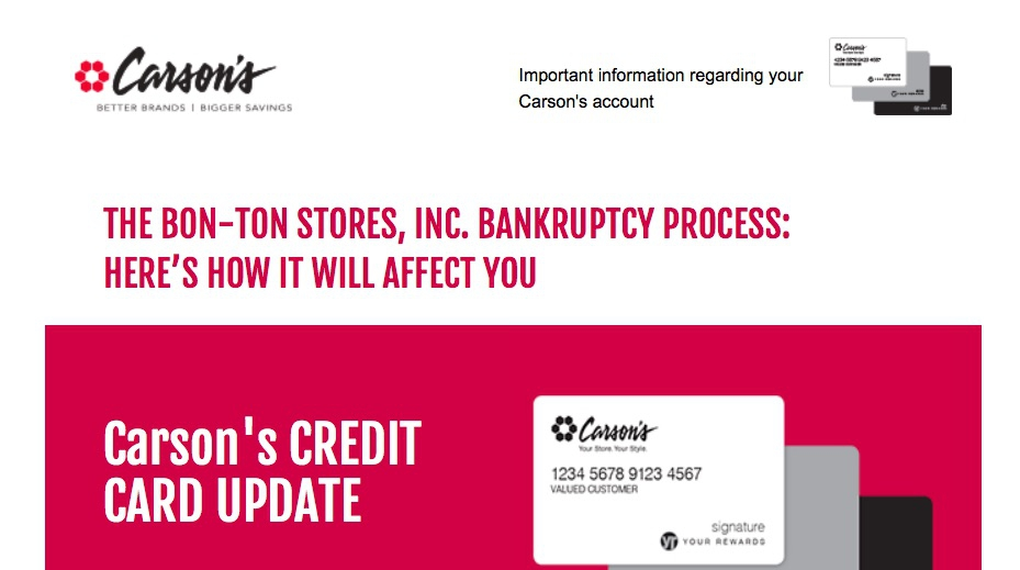 Carsons Pirie Scott Stores Closing Your Carsons Credit Card Is Too