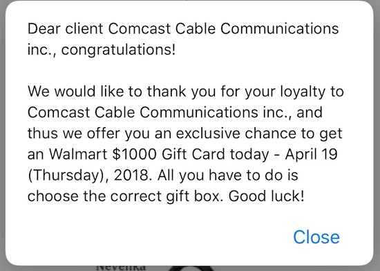 Scam: Dear Client Comcast Cable Communications Inc. Congratulations! – Pop-Up Message