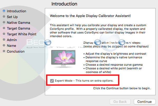 Enable: Mac OS X Calibrate Display Expert Mode