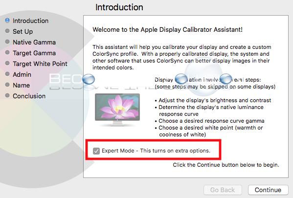 Enable: Mac OS X Calibrate Display Expert Mode