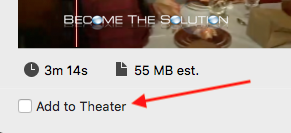 Imovie add to theatre option
