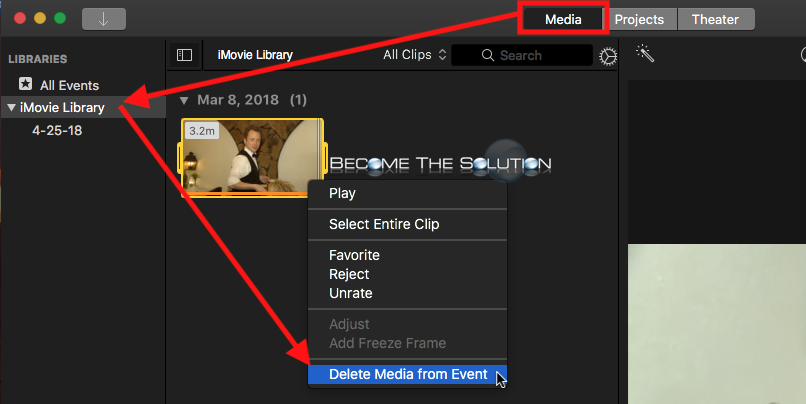 Imovie delete media from event