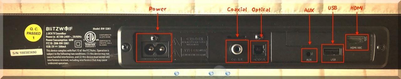 Blitzwold sound bar bw-sdb1 ports back
