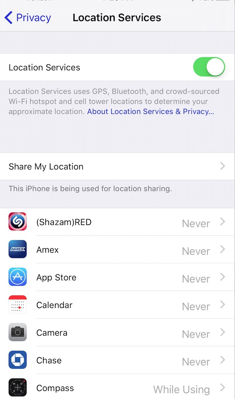 Disable iPhone Location Services