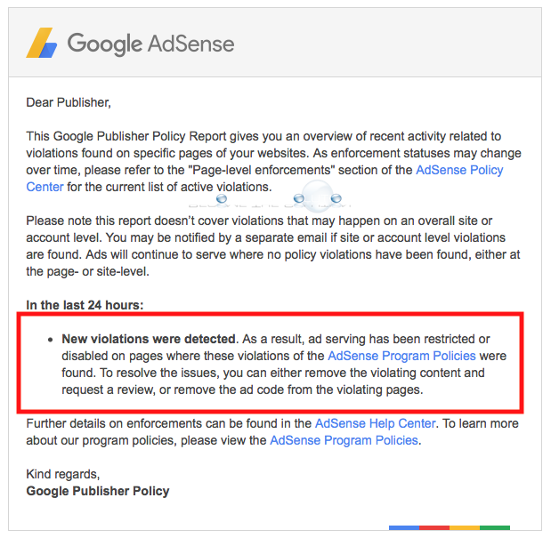 Google AdSense – New Violations Were Detected E-Mail