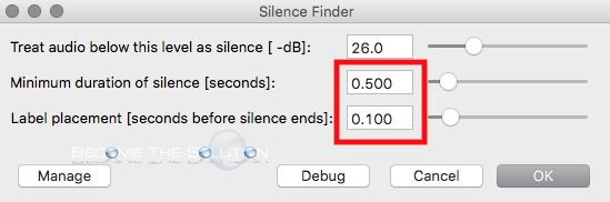 Audacity silence finder