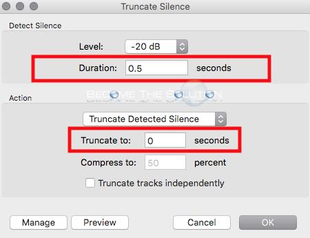 Audacity truncated silence