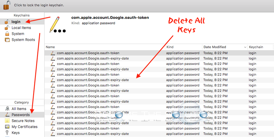 Mac keychain access google oauth token expiry password