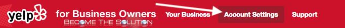 Yelp business account settings