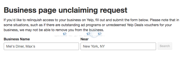 Yelp business page unclaiming request