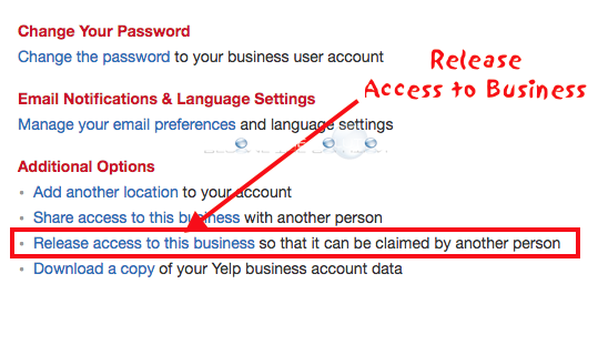 Yelp release access to business