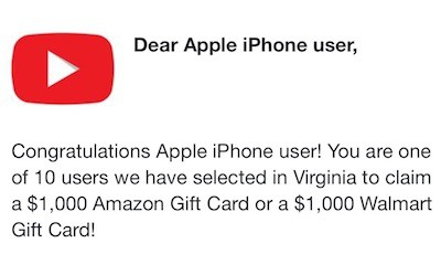 Congratulations Apple IPhone User! You Are One of 10 Users… (Pop-Up Scam)