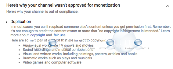 Youtube not approved monetization duplication