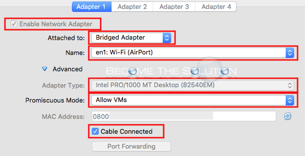 Virtualbox bridged adapter setup correct settings