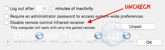 Apple remote enable infared receiver