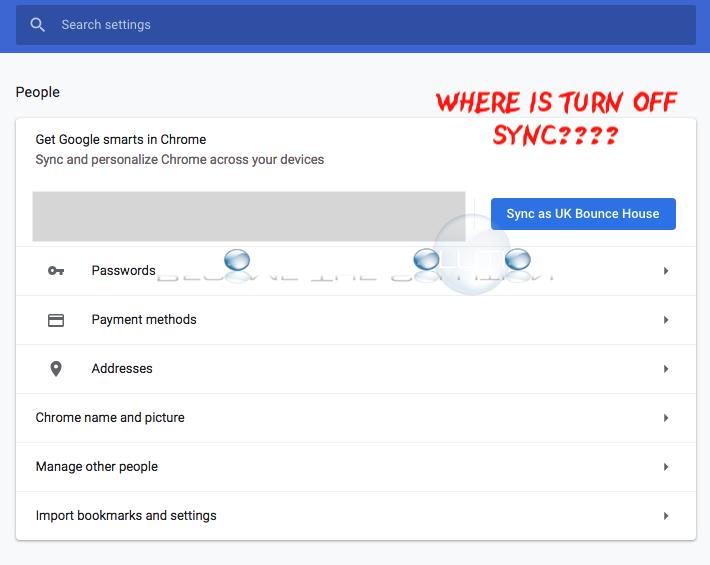 Disable google chrome sync settings