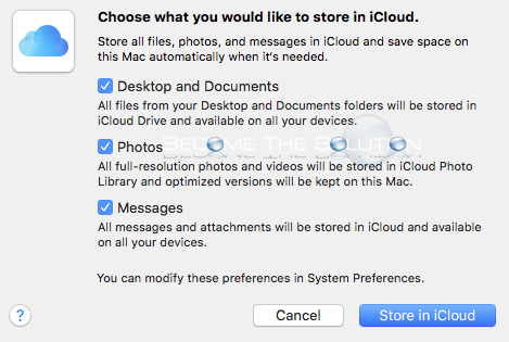 Mac os storage management store in icloud