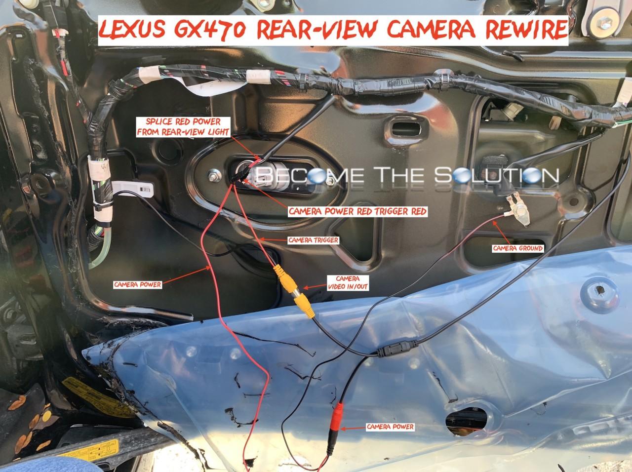Lexus gx470 rear view cmaera wiring -rewire aftermarket reverse wires phoenix android radio