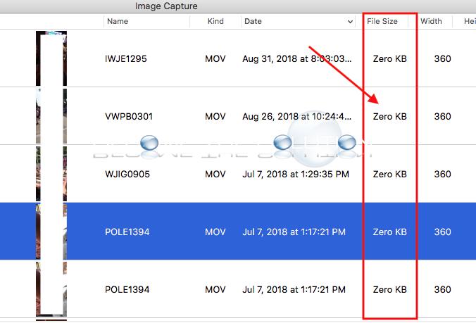 Image capture zero kb file size