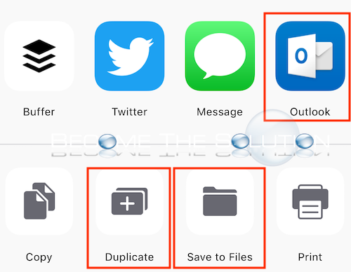 Iphone share email copy duplicate save to files options