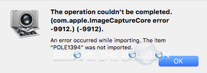 Image Capture: Can't Import or Delete iPhone Photo / Videos (com.apple.ImageCaptureCore error -9912)