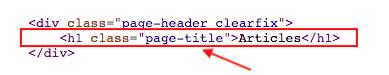 Joomla article linkings h1 header