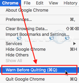 Google chrome warn before quitting