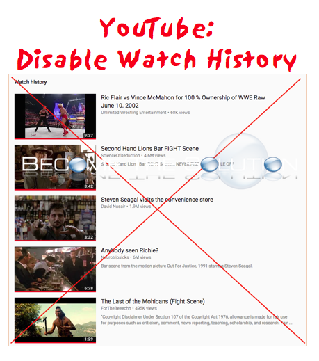 YouTube Disable Watch History