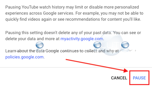 Youtube pause watch history confirm google activity