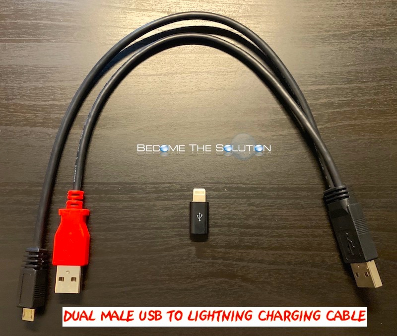 Dual USB iPhone Charging Cable Solution (Dual USB A + Single Lightning Connector)