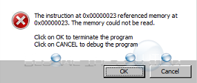 Why: The Instruction at 0x00000023 Referenced at Memory