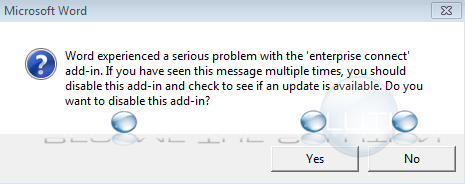 Word Experienced a Serious Problem with The Add-In