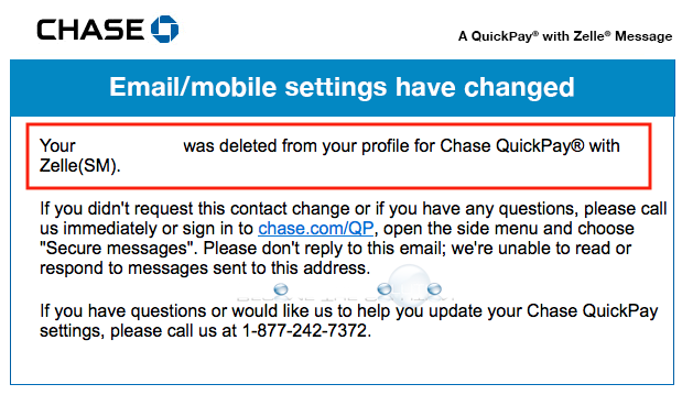 Why: Your Number Was Deleted from Your Profile for Chase QuickPay Email – November 2018