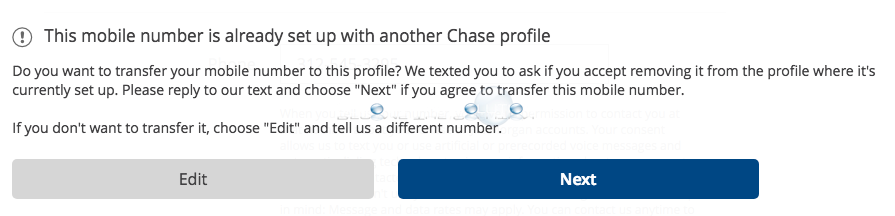 Chase quickpay this number is already setup with another chase profile