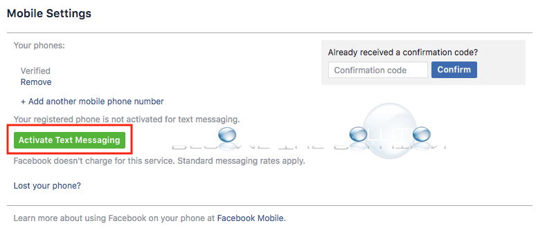 Facebook activate text messaging mobile number